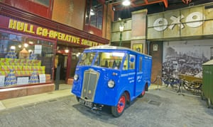 Old can and shopfront inside the Streetlife Museum of Transport