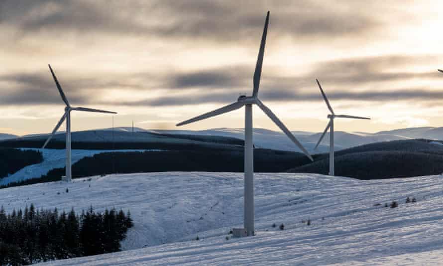 Wind turbines at Bowbeat Wind Farm in the Scottish Borders