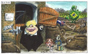 Martin Rowson cartoon 2/3/2021: Johnson closes stable door after virus has bolted