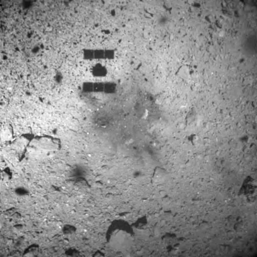 The Hayabusa 2 space probe after landing on the Ryugu asteroid, in this handout image released by Japan's space agency. The picture was taken by its ONC-W1 camera.
