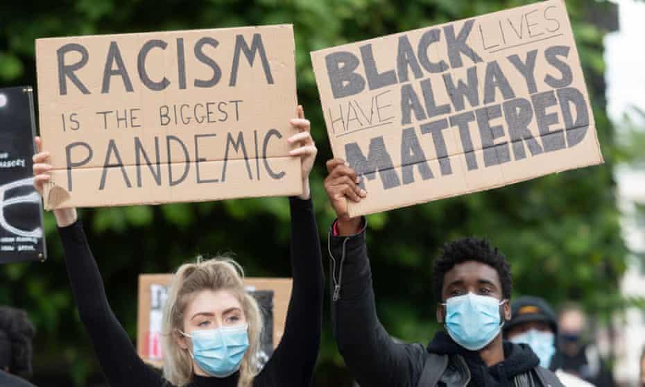 Demonstrators stage a Black Lives Matter protest outside the US Embassy, 7 June.