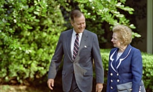 George Bush and Margaret Thatcher at the White House in 1992