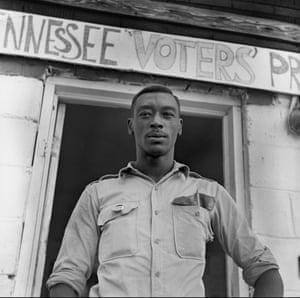 Student volunteer working to register voters, 1964-65