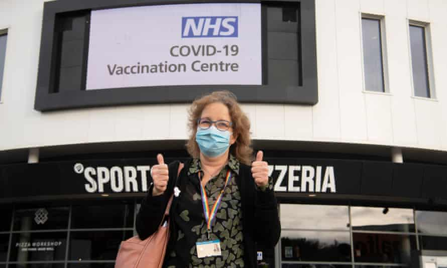 Sue Jones, a retired NHS health worker, was one of the first to be vaccinated.