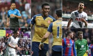Arsenal's teenage talent Alex Iwobi, centre, and clockwise from top-left: Callum Wilson, Érik Lamela, Patrick Bamford and Gylfi Sigurdsson.