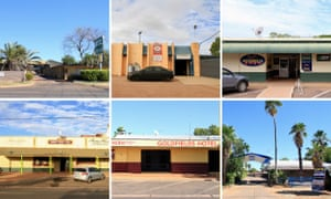 Clockwise from top left: the El Dorado Hotel, Sporties Football Club, the Memo Club, the Bluestone Motel, the Goldfields Hotel, the Tennant Creek Hotel