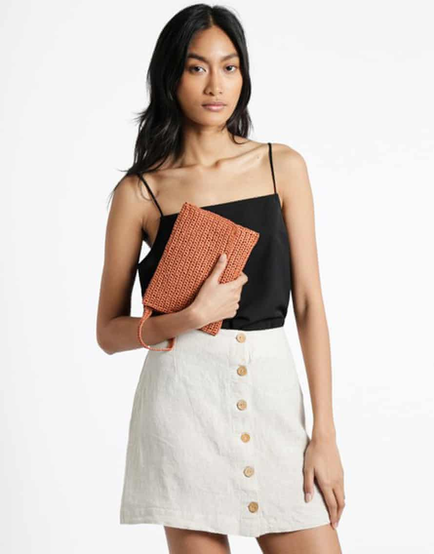 A Honey clutch, which can be made with a knitting kit, from Wool and the Gang, £33