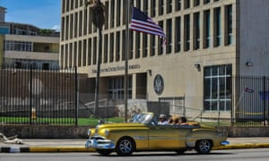 The US embassy in Havana. Washington has recalled more than half its diplomatic personnel from the Cuban capital.