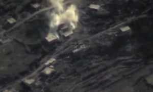 Russian defence ministry website footage of an airstrike in Syria
