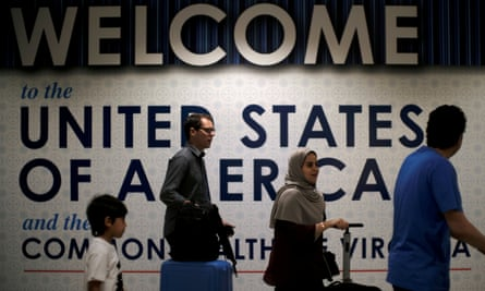 International passengers arrive at Washington Dulles airport.
