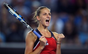 Karolina Pliskova reacts after beating Jelena Ostapenko.