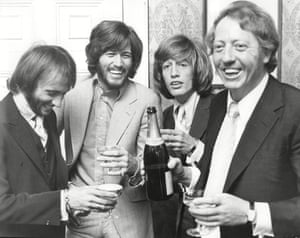 The Bee Gees with Robert Stigwood in 1970