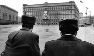 Soviet police officers standing in front of the KGB building, in November 1990.