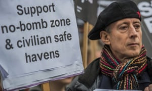 Peter Tatchell at a protest against bombing Syria outside Downing Street in 2015