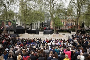 The crowd in Parliament Square listens to actress Helen McCrory