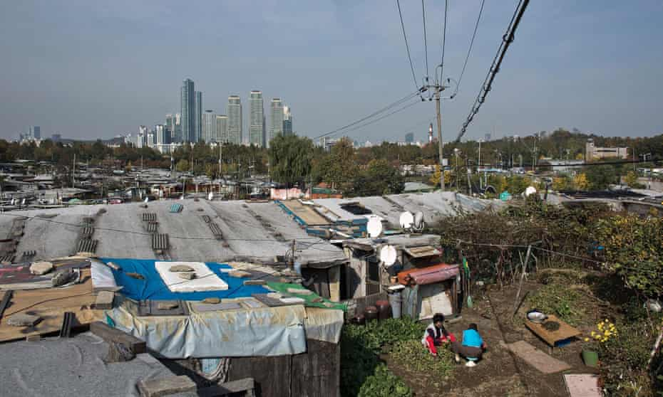 Guryong slum spreads out before the skyscrapers of Gangnam in Seoul