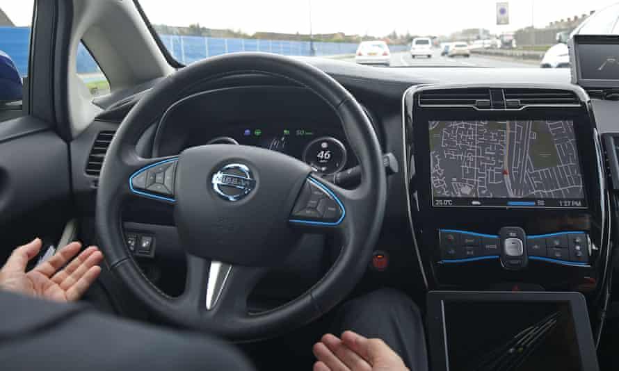 A prototype Nissan Leaf driverless car
