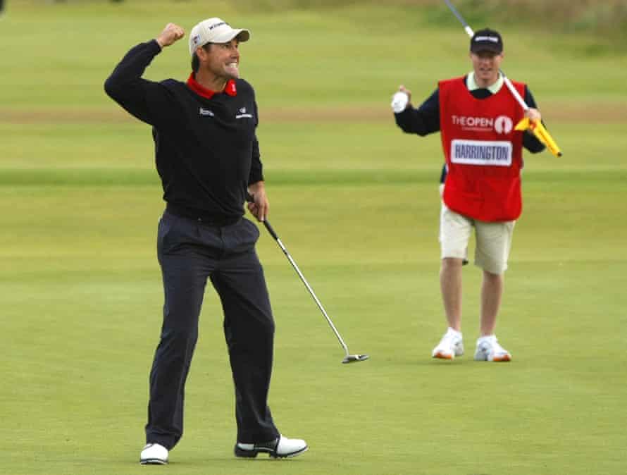 Padraig Harrington says his caddy Ronan Flood's encouragement was key to his 2007 British Open victory.