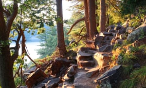 "Beautiful Wisconsin summer nature background.Ice age hiking trail and stone stairs in sunlight during sunset hours. Devil""u2019s Lake State Park, Baraboo area, Wisconsin, Midwest USA."