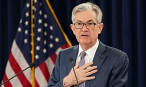 The Federal Reserve chair, Jerome Powell. US stock markets, which have dipped in recent days, bounced back after the Fed statement on Wednesday.