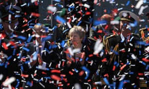 The prime minister, Theresa May, during celebrations for national Armed Forces Day in Llandudno, Wales.