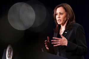 Kamala Harris holds a press conference before departing Vietnam for the United States.