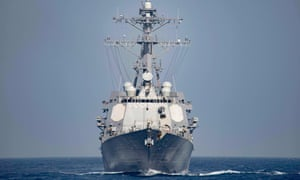A US Navy guided-missile destroyer operating in the Mediterranean Sea.