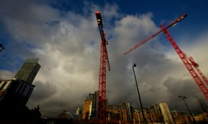Construction cranes in Manchester city centre.