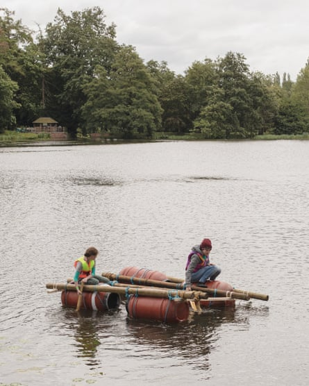Sink or swim … kids try out raft-building.