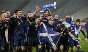 Serbia vs Scotland<br>epa08816875 Scotland's players celebrate after winning the penalty shootout of the UEFA EURO 2020 qualification playoff match between Serbia and Scotland in Belgrade, Serbia, 12 November 2020.  EPA/ANDREJ CUKIC
