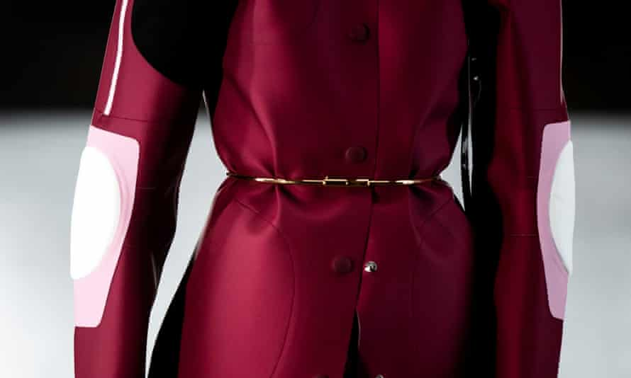 A red jacket on the Louis Vuitton catwalk