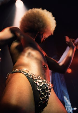 """Flesh at the Haçienda, c.1995 – Jon Shard """"Nice upward shot of one of the Afrodisiacs' codpieces. Drag artists, angle grinders, naked podium dancers and naughty masseurs were par for the course at Flesh."""""""