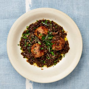 Pork and fennel meatballs with braised lentils