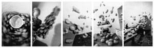 """Anna Blume and Bernhard Blume's """"Kitchen Frenzy"""" Kitchen Frenzy (Küchenkoller). 1986. Five gelatin silver prints. Each: 66 15⁄16 x 42 ½ in. (170 x 108 cm). The Museum of Modern Art, New York. Acquired through the generosity of The Contemporary Arts Council of The Museum of Modern Art, 1989. © 2015 Anna and Bernhard Blume"""