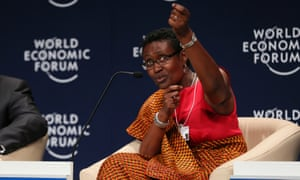 Winnie Byanyima, executive director of the charity Oxfam, speaks at the World Economic Forum in 2014.