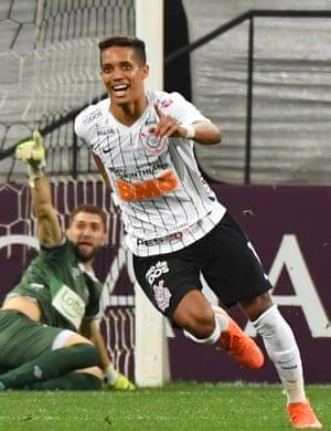 Pedrinho in action for Corinthians in Brazil.