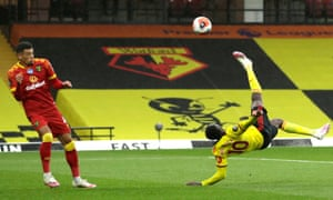 Danny Welbeck of Watford scores his team's second goal.