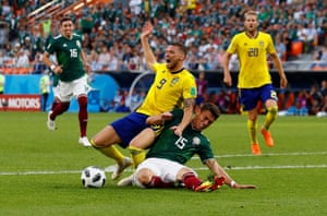 Mexico's Hector Moreno concedes a penalty against Sweden's Marcus Berg.