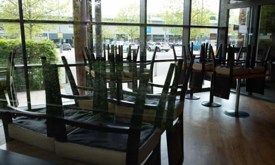 Chairs on tables in the Pizza Hut Restaurant in High Wycombe, Buckinghamshire