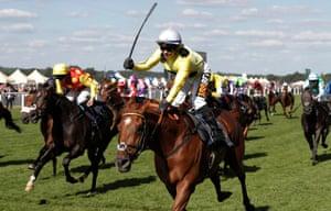 Silvestre de Sousa celebrates victory on Ostilio in the Britannia Stakes.