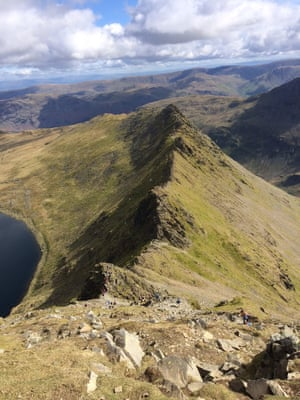 'Helvellyn's striding edge, the Lake District'.