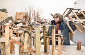 Barlow in her London studio with models of Demo, which is currently exhibited in Zurich Kunsthalle.