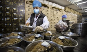 workers at a traditional Chinese medicine clinic in Beijing, China