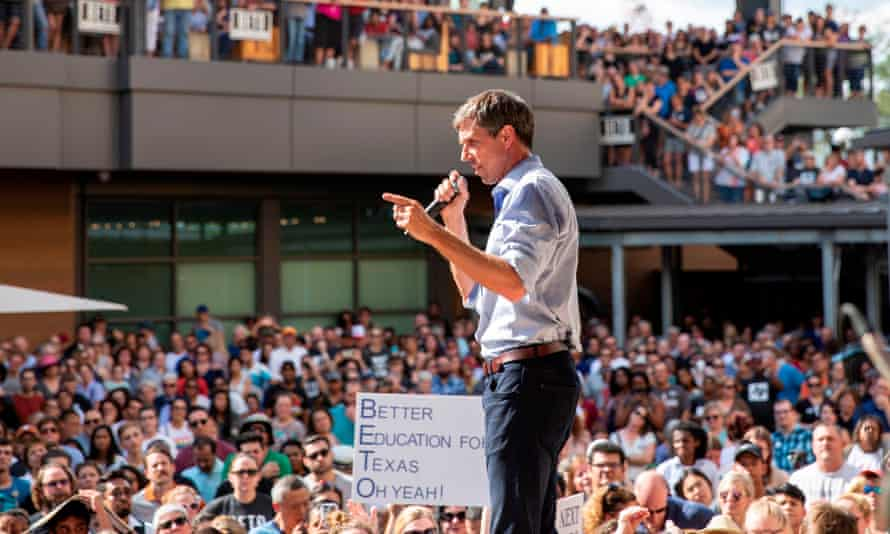Beto O'Rourke speaks at a campaign rally in Plano, Texas in September. He has reportedly met Barack Obama in Washington and won backing from many in his circle.