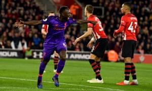 Naby Keita celebrates scoring the equaliser
