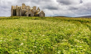 The abandoned ruins of Vallay House, Vallay Strand, North Uist