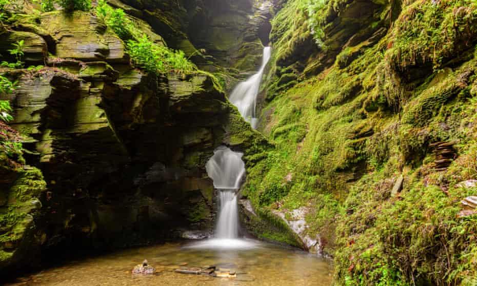 the 18-metre cascade at St Nectan's Glen