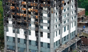 Cladding on the lower floors of Grenfell Tower following the fire