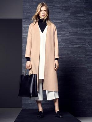M&S Autograph coat (£169), top (£69), jumper (£25), trousers (£59) and bag (£99)