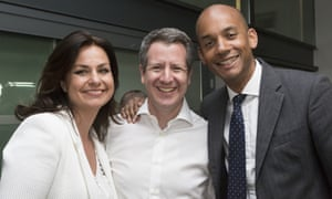 Heidi Allen, Chris Leslie and Chuka Umunna at the launch of Change UK's European election campaign on 23 April in Bristol.